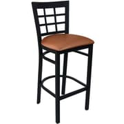 Advantage Mocha Vinyl Window Pane Back Bar Stool [BSWPB-BFMV-28]