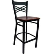 Advantage Cross Back Metal Bar Stool - Mahogany Wood Seat (BSXB-BFMW-2)