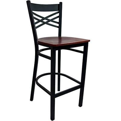 Advantage Cross Back Metal Bar Stool - Mahogany Wood Seat (BSXB-BFMW-2)