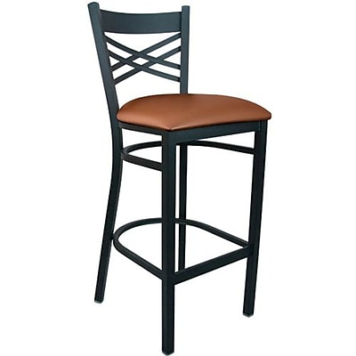 Advantage Mocha Vinyl Cross Back Bar Stool [BSXB-BFMV-28]