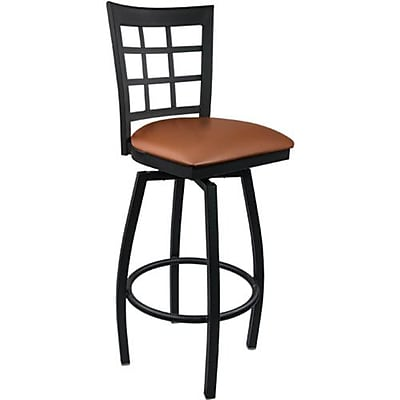 Advantage Window Pane Back Metal Swivel Bar Stool Mocha Padded, Pack of 20 (SBWPB-BFMV-20)