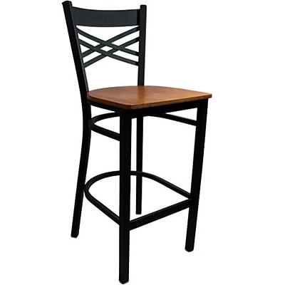 Advantage Cross Back Metal Bar Stool - Cherry Wood Seat (BSXB-BFCW-2)