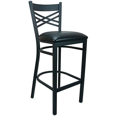 Advantage Cross Back Metal Bar Stool - Black Padded (BSXB-BFBV-2)