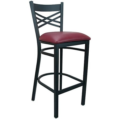 Advantage Burgundy Vinyl Cross Back Bar Stool [BSXB-BFRV-28]