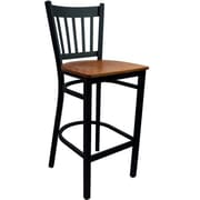 Advantage Vertical Slat Back Metal Bar Stool - Cherry Wood Seat (BSVB-BFCW-2)