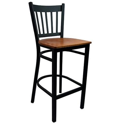 Advantage Vertical Slat Back Metal Bar Stool - Cherry Wood Seat (BSVB-BFCW-2)