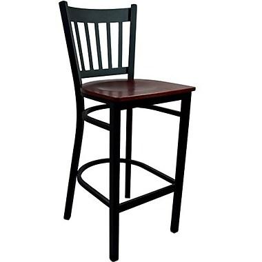 Advantage Vertical Slat Back Metal Bar Stool - Mahogany Wood Seat (BSVB-BFMW-2)