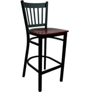 Advantage Vertical Slat Back Metal Bar Stool - Mahogany Wood Seat (BSVB-BFMW-2)