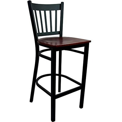Advantage Mahogany Wood Vertical Back Bar Stool [BSVB-BFMW-28]