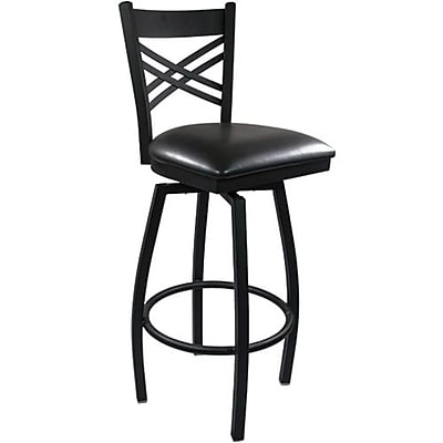 Advantage Cross Back Metal Swivel Bar Stool - Black Padded (SBXB-BFBV-2)