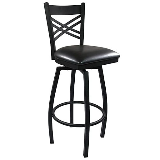 Tremendous Advantage Cross Back Metal Swivel Bar Stool Black Padded Pack Of 20 Sbxb Bfbv 20 Machost Co Dining Chair Design Ideas Machostcouk