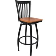 Advantage Vertical Slat Back Metal Swivel Bar Stool - Cherry Wood Seat (SBVB-BFCW-2)
