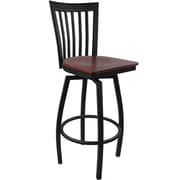 Advantage Vertical Slat Back Metal Swivel Bar Stool - Mahogany Wood Seat (SBVB-BFMW-2)