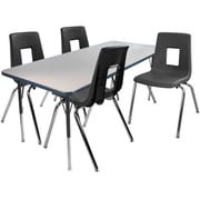 "Advantage 30"" x 48"" Gray/Navy Activity Table with 4 Black 16"" Student Stack Chairs (1AT3048GN4BLK16)"