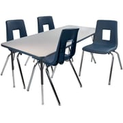 "Advantage 30"" x 48"" Gray/Navy Activity Table with 4 Navy 14"" Student Stack Chairs (AT3048GN4NAVY14)"