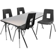 "Advantage 24"" x 48"" Gray/Black Activity Table with 4 Black 16"" Student Stack Chairs (1AT2448GB4BLK16)"