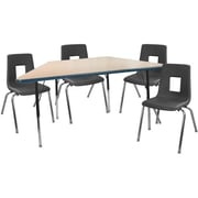 """Advantage 30"""" x 60"""" Trapezoidal Maple/Navy Activity Table with 4 Black 18"""" Student Stack Chairs (ATTRAPMN4BLK18)"""
