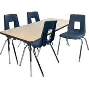 "Advantage 30"" x 48"" Maple/Black Activity Table with 4 Navy 12"" Student Stack Chairs (AT3048MB4NAVY12)"