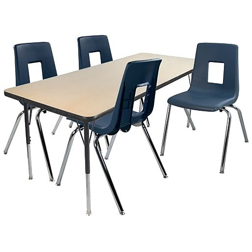 "Advantage 30"" x 48"" Maple/Black Activity Table with 4 Navy 18"" Student Stack Chairs (AT3048MB4NAVY18)"