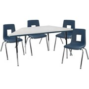 """Advantage 30"""" x 60"""" Trapezoidal Gray/Navy Activity Table with 4 Navy 14"""" Student Stack Chairs (ATTRAPGN4NAVY14)"""