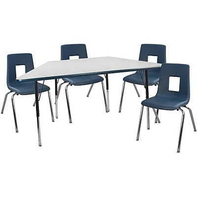 "Advantage 30"" x 60"" Trapezoidal Gray/Navy Activity Table with 4 Navy 12"" Student Stack Chairs (ATTRAPGN4NAVY12)"