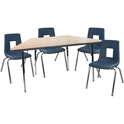 "Advantage 30"" x 60"" Trapezoidal Maple/Black Activity Table with 4 Navy 16"" Student Stack Chairs (ATTRAPMB4NAVY16)"