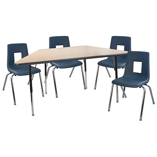 """Advantage 30"""" x 60"""" Trapezoidal Maple/Black Activity Table with 4 Navy 18"""" Student Stack Chairs (ATTRAPMB4NAVY18)"""