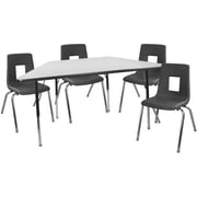 """Advantage 30"""" x 60"""" Trapezoidal Gray/Black Activity Table with 4 Black 18"""" Student Stack Chairs (ATTRAPGB4BLK18)"""