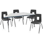 "Advantage 30"" x 60"" Trapezoidal Gray/Navy Activity Table with 4 Black 18"" Student Stack Chairs (ATTRAPGN4BLK18)"