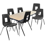 "Advantage 30"" x 60"" Maple/Navy Activity Table with 6 Black 18"" Student Stack Chairs (1AT3060MN6BLK18)"