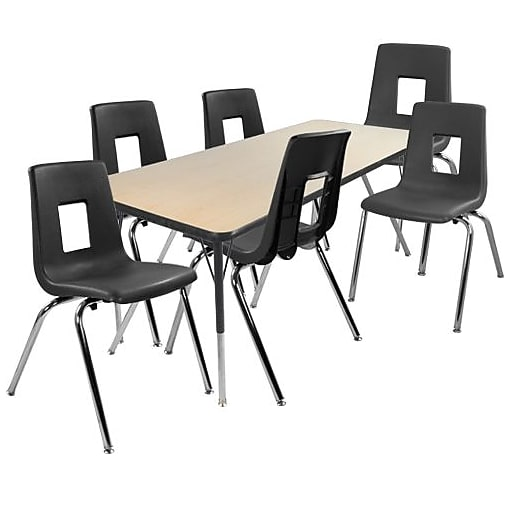 """Advantage 30"""" x 60"""" Maple/Black Activity Table with 6 Black 14"""" Student Stack Chairs (1AT3060MB6BLK14)"""