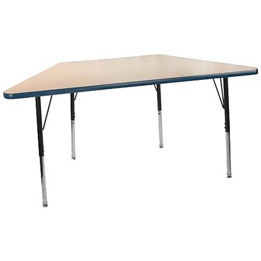 "Advantage 30"" x 60"" Trapezoidal Activity Table - Maple/Navy  (AT3060TRAP-MN-5)"
