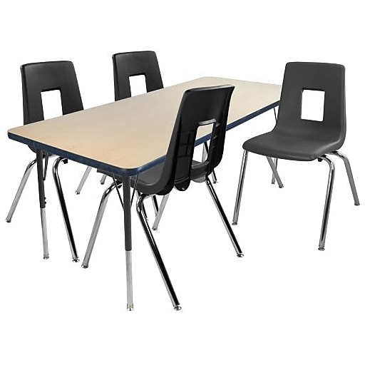 "Advantage 30"" x 48"" Maple/Navy Activity Table with 4 Black 14"" Student Stack Chairs (1AT3048MN4BLK14)"