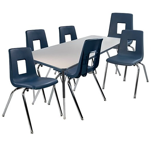 """Advantage 30"""" x 60"""" Gray/Navy Activity Table with 6 Navy 14"""" Student Stack Chairs (AT3060GN6NAVY14)"""