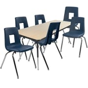"Advantage 30"" x 60"" Maple/Black Activity Table with 6 Navy 16"" Student Stack Chairs (AT3060MB6NAVY16)"