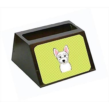 Carolines Treasures 4 x 1.25 x 2 In. Checkerboard Lime Green Westie Decorative Desktop Wooden Business Card Holder(CRLT63397)