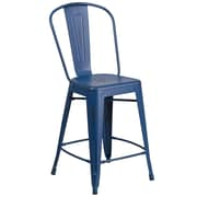 24'' High Distressed Antique Blue Metal Indoor-Outdoor Counter Height Stool with Back  (ET353424AB)
