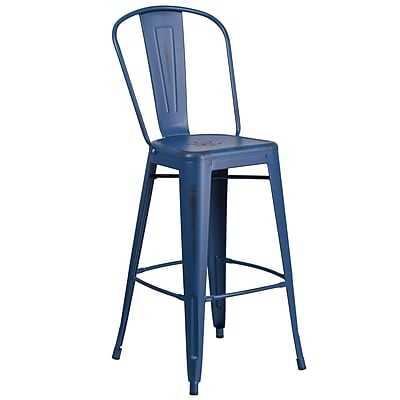 30'' High Distressed Antique Blue Metal Indoor-Outdoor Barstool with Back (ET353430AB)