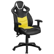 High Back Canary Yellow Vinyl Executive Swivel Office Chair with Inner-Coil Spring Comfort Seat and Black Base (CPB331A01YL)