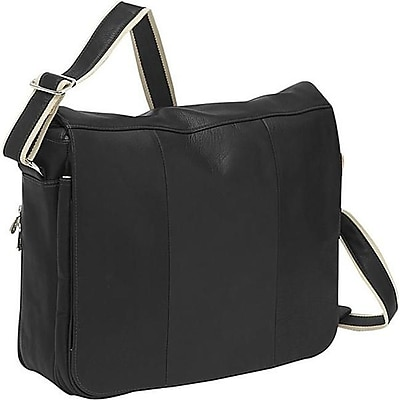 Piel Leather Expandable Messenger Bag - Black(PIEL1350)