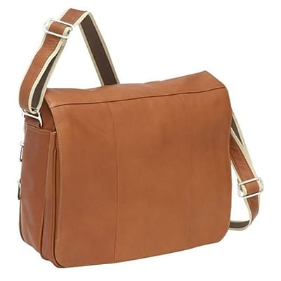 Piel Leather Expandable Messenger Bag - Saddle(PIEL1421)
