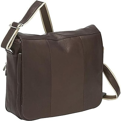Piel Leather Expandable Messenger Bag - Chocolate(PIEL1367)
