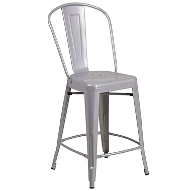 Flash Furniture 24'' High Silver Metal Indoor-Outdoor Counter Height Stool with Back
