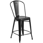 Flash Furniture 24'' High Matte Black Metal Indoor-Outdoor Counter Height Stool with Back