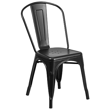 Flash Furniture Matte Black Metal Indoor-Outdoor Stackable Chair