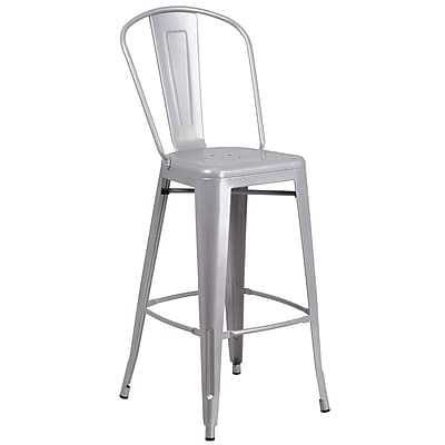 Flash Furniture 30'' High Silver Metal Indoor-Outdoor Barstool with Back