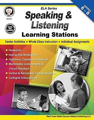 Speaking and Listening Learning Stations, Grades 6 - 8 Paperback (404258)