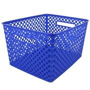 Romanoff Woven Basket, Large, Blue, 1 Each (ROM74204)