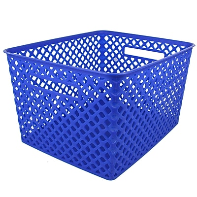 Romanoff Woven Basket, Large, Blue, 1 Each per Pack (ROM74204)