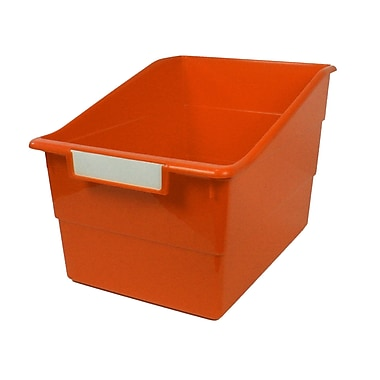 Romanoff Shelf File with Label Holder, Wide, Orange, Set of 3 (ROM77309)